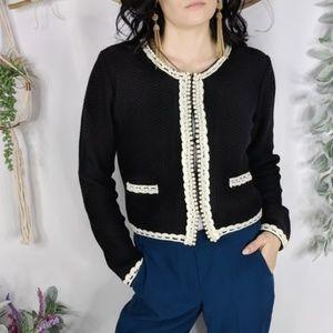 McGINN black wool tweed knit jacket cardigan 0795
